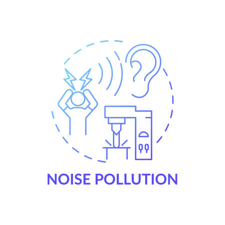 Noise pollution concept icon. Workplace safety concerns. Damaging your hearing organs while working. Convinient job place idea thin line illustration. Vector isolated outline RGB color drawing Çizim