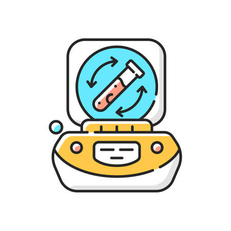 Lab centrifuge RGB color icon. Spinning vessel containing material at high speed. Fluids, liquid separation. Laboratory equipment. Rotational movement around fixed axis. Isolated vector illustration