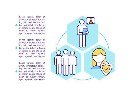 Authorized employee representatives concept icon with text. Safety and health matters in workplace. PPT page vector template. Brochure, magazine, booklet design element with linear illustrations