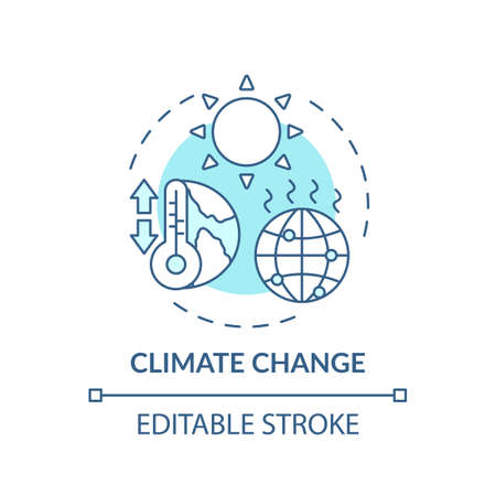 Climate change turquoise concept icon. Global warming. Rising temperature. Pollution from emission. Environment idea thin line illustration. Vector isolated outline RGB color drawing. Editable stroke