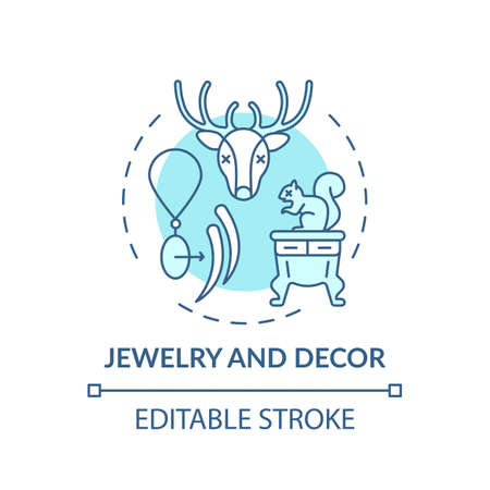 Jewelry and decor turquoise concept icon. Animal abuse. Species population decrease. Wildlife cruelty idea thin line illustration. Vector isolated outline RGB color drawing. Editable stroke