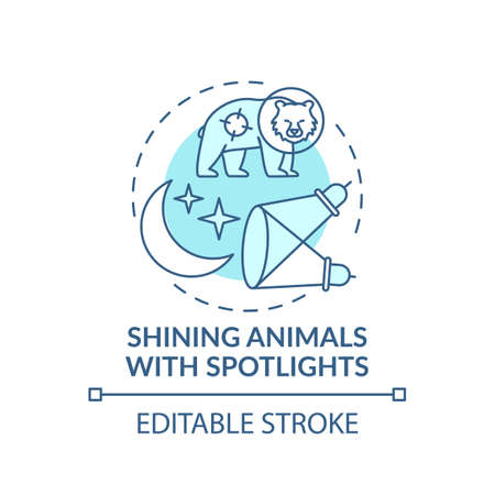 Shining animals with spotlights turquoise concept icon. Harm wildlife. Animal welfare. Nature conservation idea thin line illustration. Vector isolated outline RGB color drawing. Editable stroke