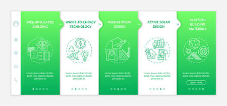 Sustainable architecture onboarding vector template. Efficient energy consumption. Eco friendly. Responsive mobile website with icons. Webpage walkthrough step screens. RGB color concept