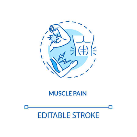 Muscle pain concept icon. CFS symptom idea thin line illustration. Sudden-onset weakness. Lingering tiredness and feeling drained. Vector isolated outline RGB color drawing. Editable stroke
