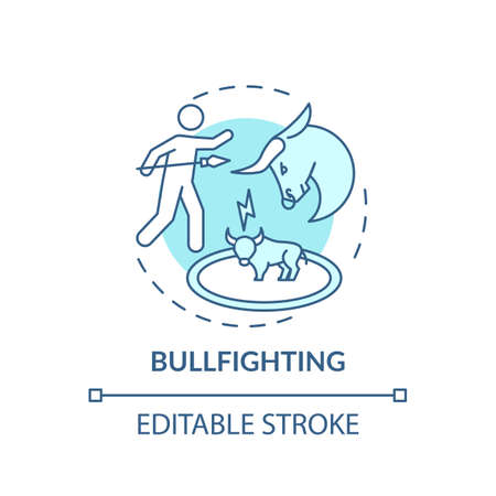 Bullfighting turquoise concept icon. Bull and matador. Spanish tradition. Violence on arena. Animal abuse idea thin line illustration. Vector isolated outline RGB color drawing. Editable stroke