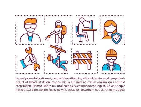 Workers protection from workplace hazards concept icon with text. Healthful working conditions. PPT page vector template. Brochure, magazine, booklet design element with linear illustrations