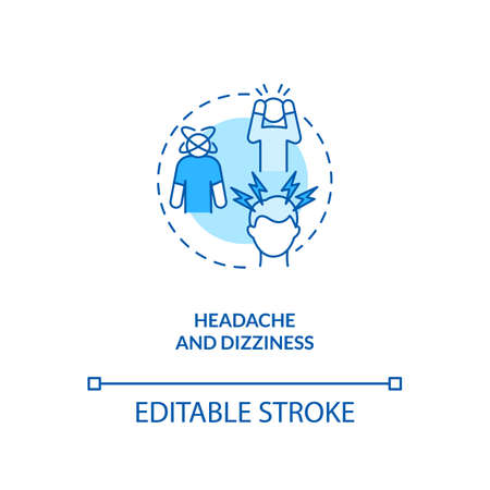 Headache and dizziness concept icon. CFS symptom idea thin line illustration. Neck stiffness. Vertigo, fainting and migraine. Vector isolated outline RGB color drawing. Editable stroke Иллюстрация