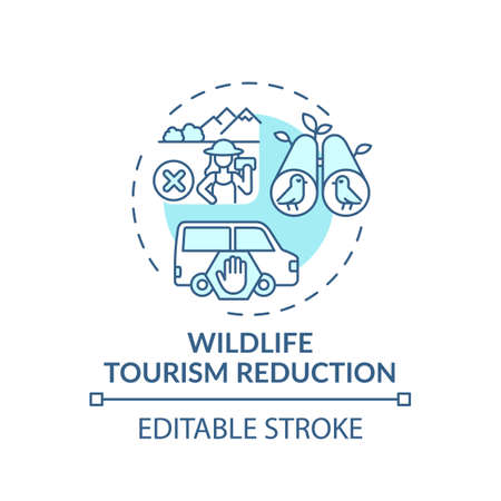 Wildlife tourism reduction turquoise concept icon. Preserve biodiversity. Animal abuse. Nature conservation idea thin line illustration. Vector isolated outline RGB color drawing. Editable stroke