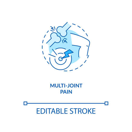 Multi-joint pain concept icon. CFS symptom idea thin line illustration. Rheumatoid arthritis, osteoarthritis. Muscle weakness. Lyme disease. Vector isolated outline RGB color drawing. Editable stroke