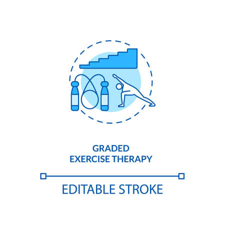 Graded exercise therapy concept icon. CFS treatment idea thin line illustration. Sport activities. Adaptation to physical capabilities. Vector isolated outline RGB color drawing. Editable stroke