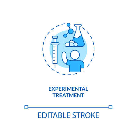 Experimental treatment concept icon. CFS cure idea thin line illustration. Implementing clinical trials. Non-medical, innovative therapies. Vector isolated outline RGB color drawing. Editable stroke