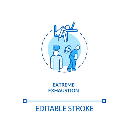 Extreme exhaustion concept icon. Severe fatigue idea thin line illustration. CFS symptom. Problems with thinking and concentrating. Vector isolated outline RGB color drawing. Editable stroke