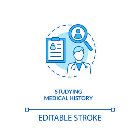Studying patient medical history concept icon. Anamnesis idea thin line illustration. CFS diagnostics. Effective clinical decision making. Vector isolated outline RGB color drawing. Editable stroke