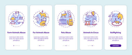 Animal abuse onboarding mobile app page screen with concepts. Cruelty for entertainment. Wildlife harm walkthrough 5 steps graphic instructions. UI vector template with RGB color illustrations Çizim