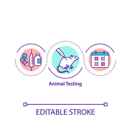 Animal testing concept icon. Animal experimentation idea thin line illustration. Drug, food and cosmetics testing. Causing lasting harm. Vector isolated outline RGB color drawing. Editable stroke