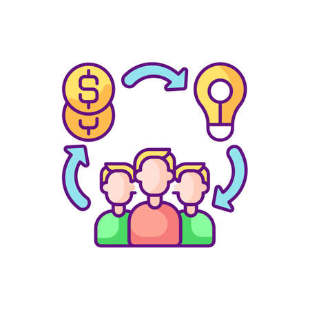 Social entrepreneurship RGB color icon. Approach by companies in which they develop and implement solutions to social issues. Isolated vector illustration