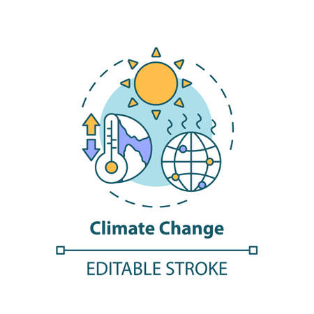 Climate change concept icon. Global warming. Rising temperature. Pollution from emission. Environmental danger idea thin line illustration. Vector isolated outline RGB color drawing. Editable stroke