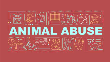 Animal abuse word concepts banner. Pet cruelty. Drug, food and cosmetics testing. Infographics with linear icons on red background. Isolated typography. Vector outline RGB color illustration