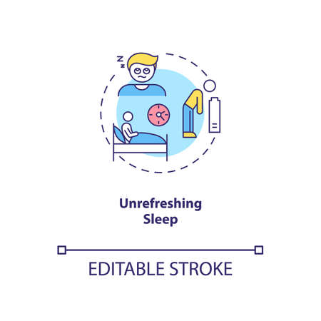 Unrefreshing sleep concept icon. CFS symptom idea thin line illustration. Persistent, excessive fatigue. Chronic tiredness and sleepiness. Vector isolated outline RGB color drawing. Editable stroke