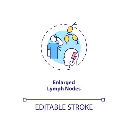 Enlarged lymph nodes concept icon. CFS symptom idea thin line illustration. Painless lump in neck. Feeling tired without reason. Vector isolated outline RGB color drawing. Editable stroke
