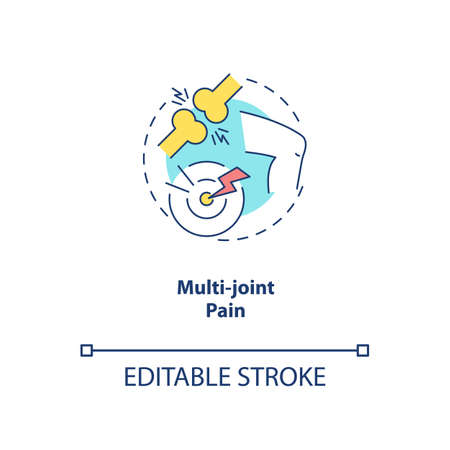 Multi-joint pain concept icon. CFS symptom idea thin line illustration. Chronic joint disorder. Muscle weakness. Lyme disease. Vector isolated outline RGB color drawing. Editable stroke