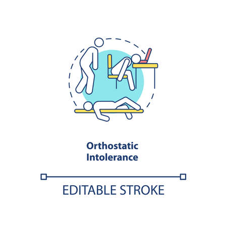 Orthostatic intolerance concept icon. CFS symptom idea thin line illustration. Difficulty with upright posture. Postural hypotension. Vector isolated outline RGB color drawing. Editable stroke