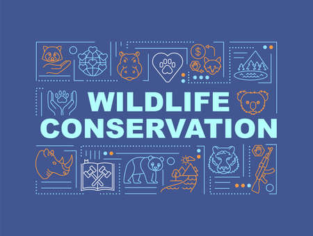 Wildlife conservation word concepts banner. Biological diversity regulation. Infographics with linear icons on blue background. Isolated typography. Vector outline RGB color illustration  イラスト・ベクター素材