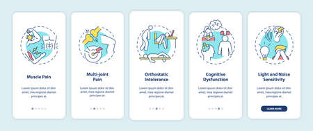 CFS symptoms onboarding mobile app page screen with concepts. Muscle pain, orthostatic intolerance walkthrough 5 steps graphic instructions. UI vector template with RGB color illustrations