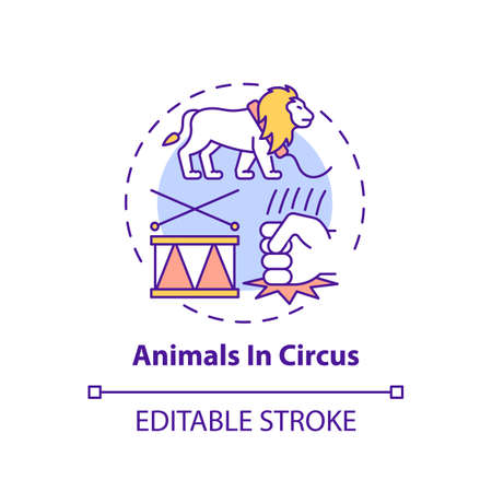 Animals in circuses concept icon. Cruelty for entertainment and amusement. Animal abuse, wildlife harm idea thin line illustration. Vector isolated outline RGB color drawing. Editable stroke Çizim