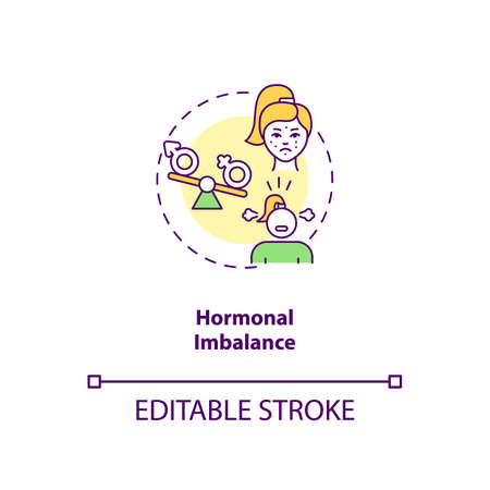 Hormonal imbalance concept icon. CFS cause idea thin line illustration. Abnormal hormones levels. Hypothyroidism. Moodiness, irritability. Vector isolated outline RGB color drawing. Editable stroke