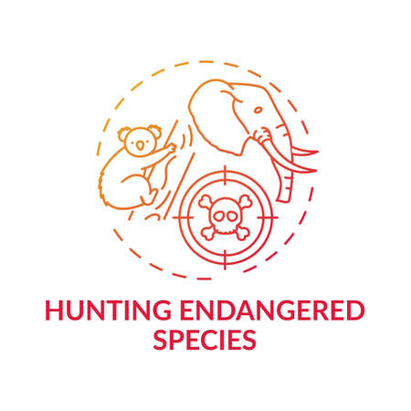 Hunting endangered species red gradient concept icon. Biodiversity loss. African animal abuse. Australia wildlife idea thin line illustration. Vector isolated outline RGB color drawing 일러스트