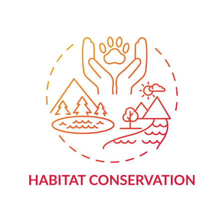 Habitat conservation red gradient concept icon. Ecosystem preservation. Prevent extinction. Wildlife conservation idea thin line illustration. Vector isolated outline RGB color drawing