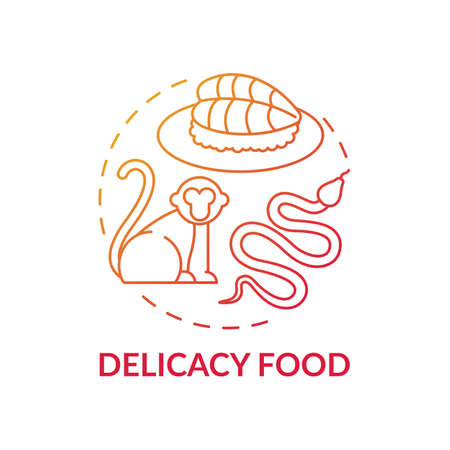 Delicacy food red gradient concept icon. Exotic animal abuse. Unethical eating. Extinction danger. Wildlife conservation idea thin line illustration. Vector isolated outline RGB color drawing