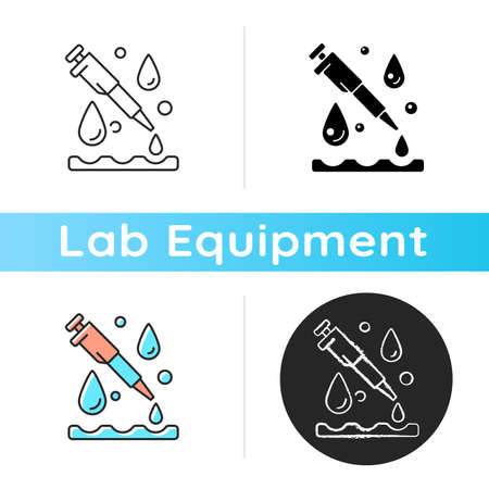 Laboratory pipette icon. Chemical droppers. Liquid handling tasks. Lab tool. Chemistry, biology. Transporting measured liquid volume. Linear black and RGB color styles. Isolated vector illustrations