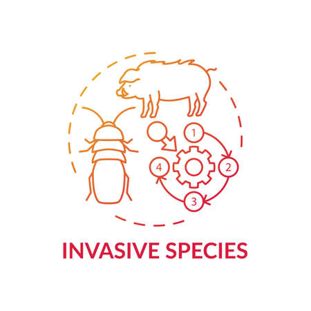 Invasive species red gradient concept icon. Ecosystem preservation. Insects, animal population. Wildlife conservation idea thin line illustration. Vector isolated outline RGB color drawing