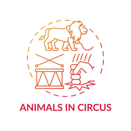 Animals in circuses red gradient concept icon. Cruelty for entertainment and amusement. Animal abuse, wildlife harm idea thin line illustration. Vector isolated outline RGB color drawing