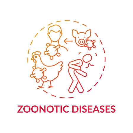 Zoonotic diseases red gradient concept icon. Bird, pig flu. Swine influenza. Infection from animal. Healthcare idea thin line illustration. Vector isolated outline RGB color drawing