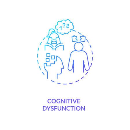 Cognitive dysfunction concept icon. CFS symptom idea thin line illustration. Language comprehension and word-finding abilities. Multiple sclerosis. Vector isolated outline RGB color drawing
