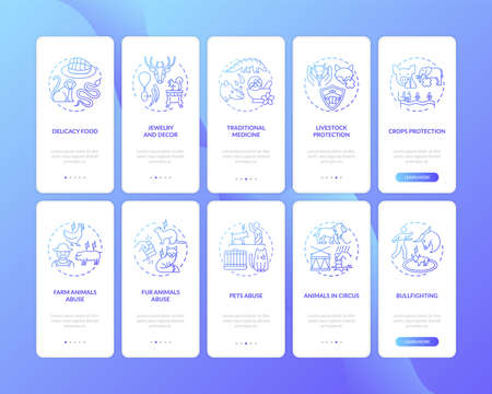 Wildlife conservation dark blue onboarding mobile app page screen with concepts set. Preserve nature walkthrough 5 steps graphic instructions. UI vector template with RGB color illustrations Ilustração Vetorial