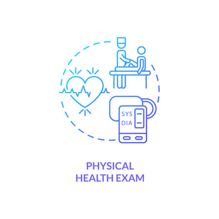 Physical health exam concept icon. CFS diagnostics idea thin line illustration. Vital signs measurement. Routine checkups. Ensuring patient wellness. Vector isolated outline RGB color drawing