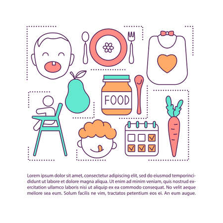 Raising happy and healthy baby concept icon with text. Soft, easily consumed food. Vegetables and fruits. PPT page vector template. Brochure, magazine, booklet design element with linear illustrations