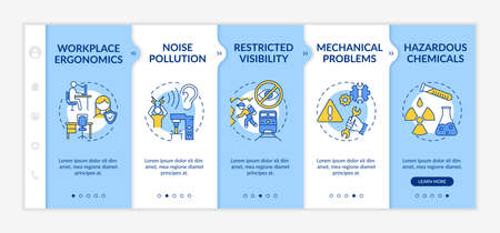Workplace safety concerns onboarding vector template. Workplace ergonomics. Noise pollution. Responsive mobile website with icons. Webpage walkthrough step screens. RGB color concept