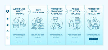 Workplace safety rights onboarding vector template. Protection from toxic chemicals. Safe machinery. Responsive mobile website with icons. Webpage walkthrough step screens. RGB color concept Vettoriali
