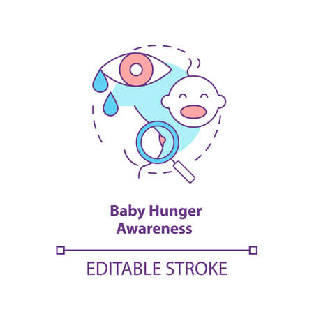 Baby hunger awareness concept icon. Breastfeeding tips. Children crying for food. Newborns want to drink milk idea thin line illustration. Vector isolated outline RGB color drawing. Editable stroke