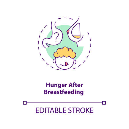 Hunger after breastfeeding concept icon. Introducing baby food requirements. Getting more food. Healthy nutriton idea thin line illustration. Vector isolated outline RGB color drawing. Editable stroke