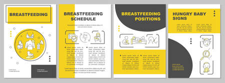 Breastfeeding brochure template. On-demand nursing. Hungry baby signs. Flyer, booklet, leaflet print, cover design with linear icons. Vector layouts for magazines, annual reports, advertising posters