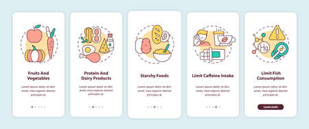 Healthy breastfeeding diet onboarding mobile app page screen with concepts. Fruits and vegetables walkthrough 5 steps graphic instructions. UI vector template with RGB color illustrations Çizim