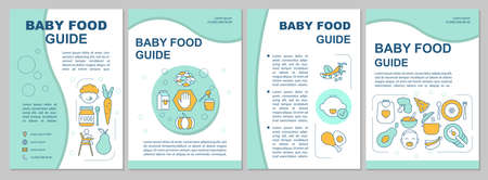 Baby food guide brochure template. Infant formula. Vegetables, fruits. Flyer, booklet, leaflet print, cover design with linear icons. Vector layouts for magazines, annual reports, advertising posters