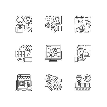 Business management linear icons set. Customizable thin line contour symbols. Production manufacturing, financial management and audit. Isolated vector outline illustrations. Editable stroke