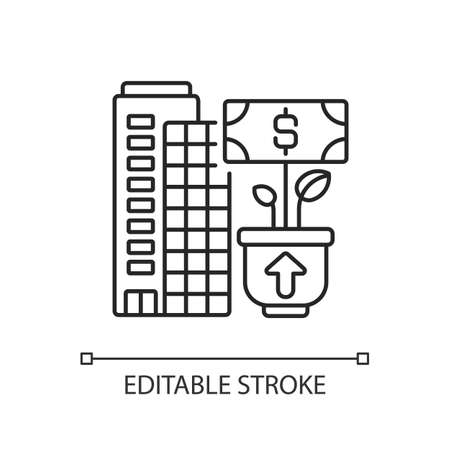 Company growth linear icon. Successful business development thin line customizable illustration. Contour symbol. Banking service, financial management. Vector isolated outline drawing. Editable stroke